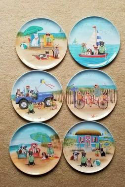 Dogs and Cats Summer Fun At The Beach Melamine Dinner Plates