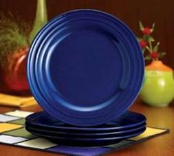 "FOUR Rachael Ray Double Ridge 11"" DINNER Plates in blue NEW"