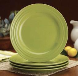 "FOUR Rachael Ray Double Ridge 11"" DINNER plates in Green NEW"