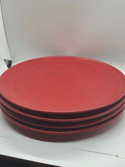 "Rachael Ray Double Ridge 11"" dinner plates - Red - Set of 4"