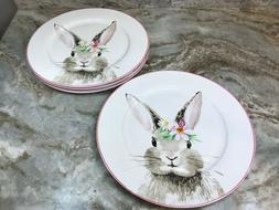 Easter Dinner Plates Bunny And Flowers Set Of 4. Quality Por