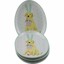 222 Fifth Easter Pups Oval Egg Shaped App Plates Set of 4 Go
