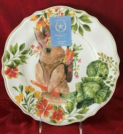 Easter Rubbit Bunny Set of 4 Floral Dinner Plate  melamine T