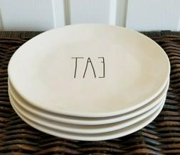 "RAE DUNN ""EAT"" DINNER PLATES SET OF 4, 11"" LARGE - FREE SHIP"