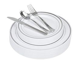 125-Piece Elegant Plastic Plates & Cutlery Set Service for 2