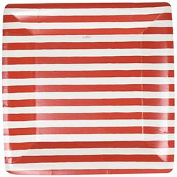 Caspari Entertaining Striped Square Dinner Plates, Red and W
