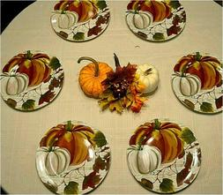 "Royal Norfolk Fall Pumpkin 10.5"" Dinner Plates Set of 6 Th"