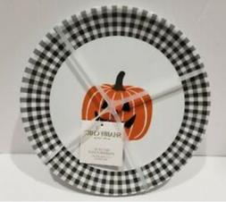 Shabby Chic Farmhouse Halloween Checked Pumpkin Melamine Din