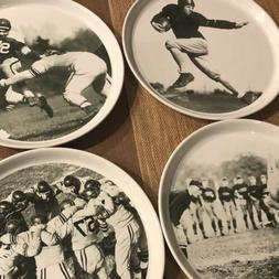 "Pottery Barn Football Plates Set of 4 9"" Dinner"