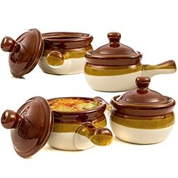 Gibson French Onion Soup Crock Bowls with Handles, 15 Ounce