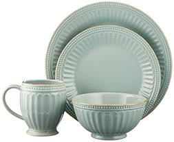 Lenox French Perle Groove 4 Piece Place Setting, Ice Blue