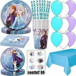 Frozen Party Supplies for 16 - Dinner Plates, Cake Plates, N