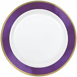 Gold and Purple Border Premium Plastic Dinner Plates, 10 Cou