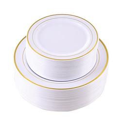 102 Pieces Gold Plastic Plates, White Party Plates, Premium