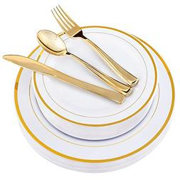 100 Piece Gold Plastic Plates with Gold Silverware, Premium