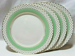 Grace's Teaware Green with Gold Dots Porcelain Dinner Plates