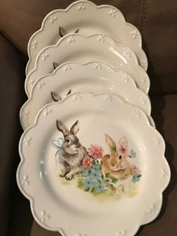 GRACE'S TEAWARE SCALLOPED EASTER BUNNY RABBIT 4 DINNER PLA