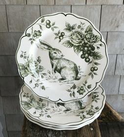 Maxcera  GREEN Bunny Rabbit Floral Toile Dinner Plates ~ Set