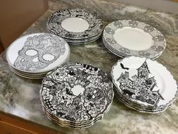 222 Fifth Halloween Dinner Or Side Plates. Set Of 4. Black A