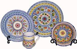 Hand-Painted Ceramic Plates from Spain. Multicolor Pattern