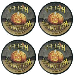 "Happy Halloween Melamine Dinner Plates 11"" Set of 4 Fun Jack"