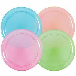 Hard Plastic Plates 9-Inch Round Party/Luncheon Plates Assor