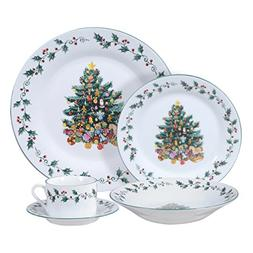 Gibson Home Tree Trimming 20-Piece Ceramic Dinnerware Set, W