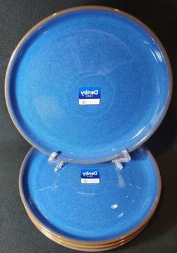 Denby Imperial Blue Coupe Dinner Plates HTF Set/4 NEW! Made