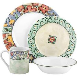 Corelle Impressions 16-Piece Dinnerware Set, Watercolors, Se