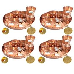 Set of 4 Prisha India Craft Indian Dinnerware Pure Copper Th