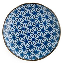 """Japanese Blue and White Geometric 10"""" Dinner Plate"""