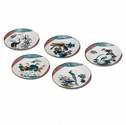 Jpanese traditional ceramic Kutani ware. Set of 5. Plates Di