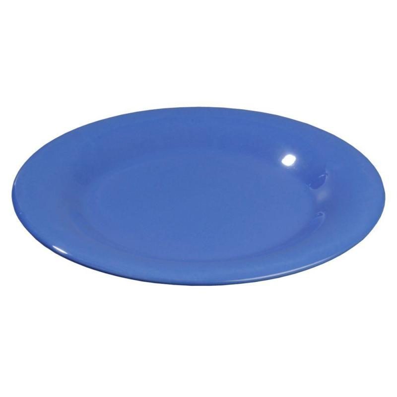 12 In. Diameter Melamine Wide Rim Dinner Plate Ocean Blue Ca
