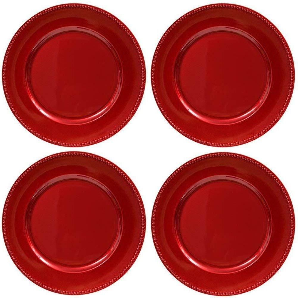 "13"" Red Round Beaded Rim Dinner Charter Plates Holiday 4 Tab"