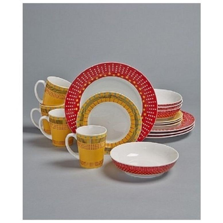 16 Pc Dinnerware Set Colorful Stripes Dots Dinner Plates Sal