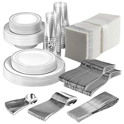 25 guest disposable silver dinnerware