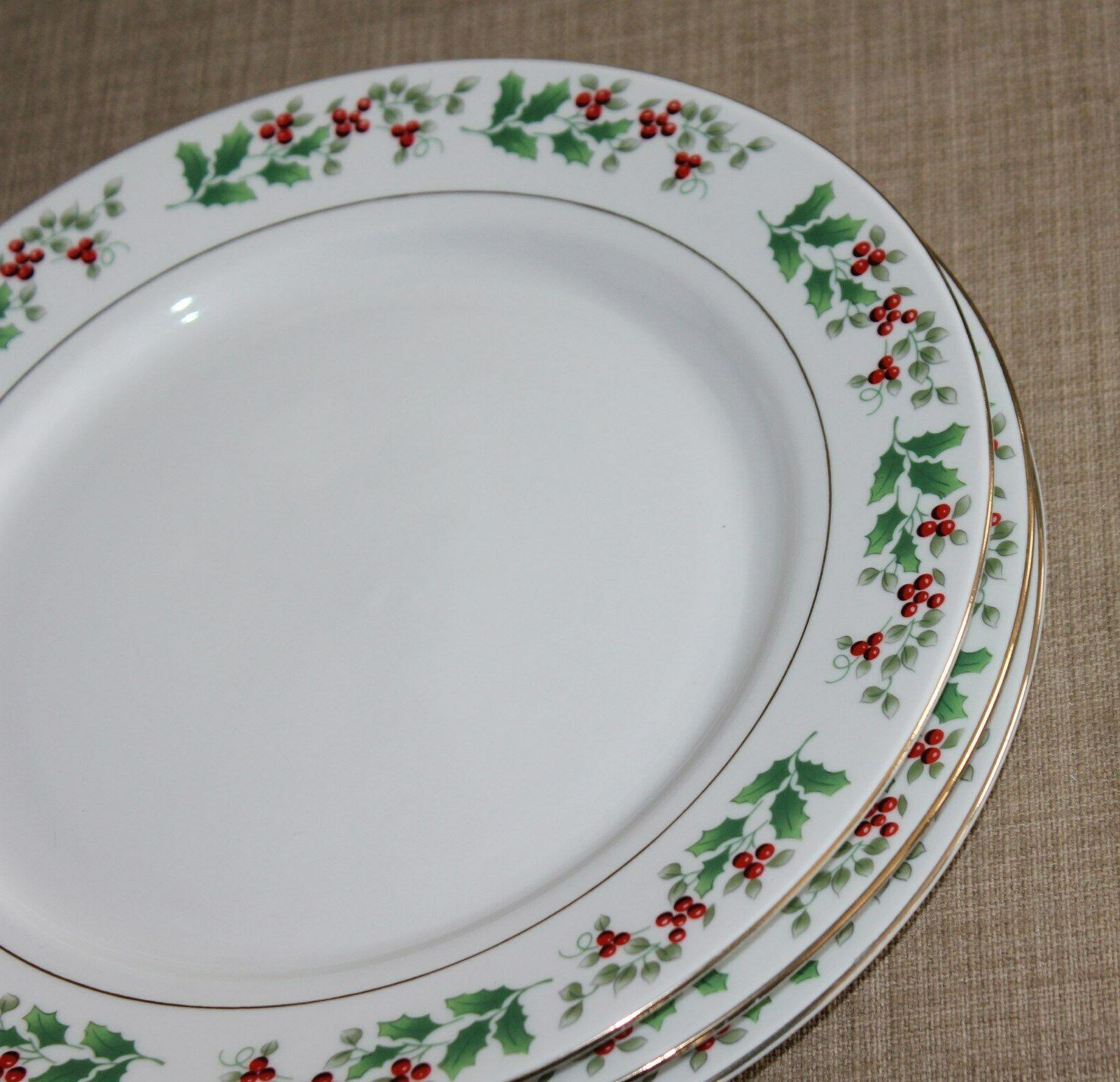 4 Holly Christmas Charm Dinner Plates New