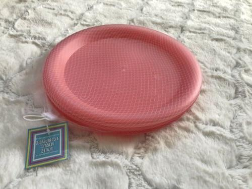 4 Colorful Plates PINK Sturdy Reusable PBA Free Saf