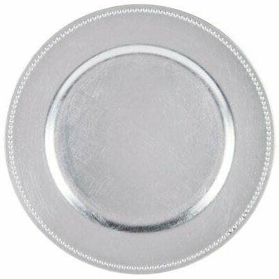 4 round charger beaded dinner plates silver