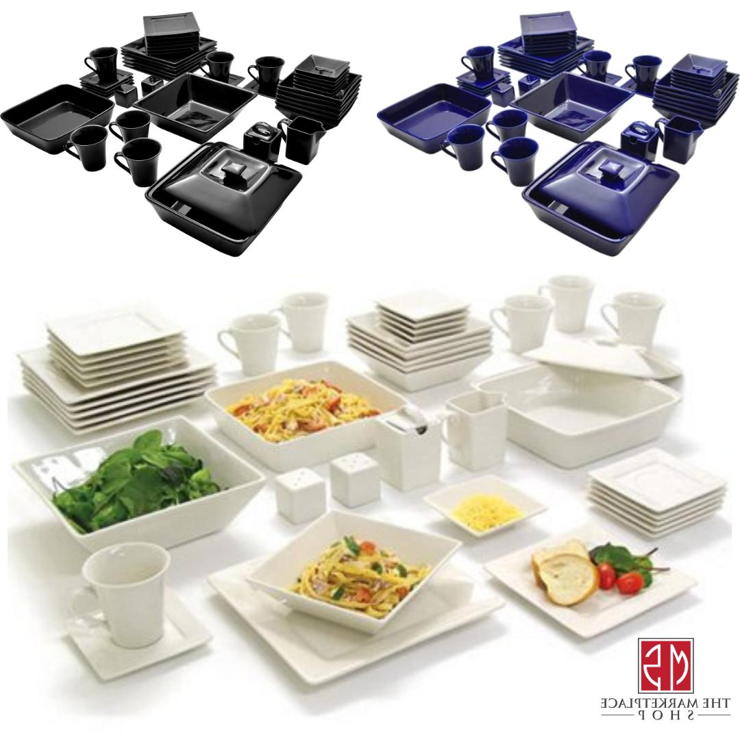 45-Piece Square Dinnerware For Dinner Plates Dinning Bowls
