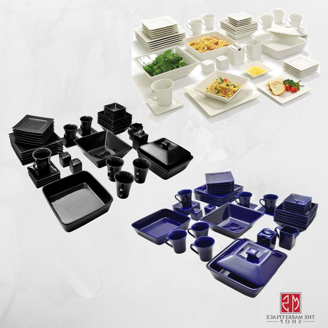 45-Piece Square Dinnerware For 6 Plates Dinning Dishes