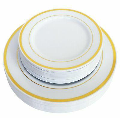 50 Piece Heavy Duty Disposable Gold Rim Plastic Plates Set f