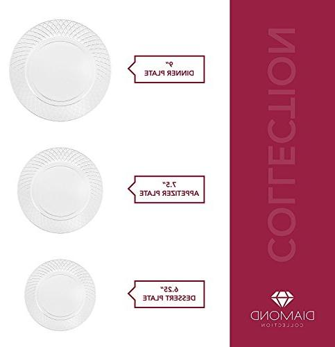 72 PLATES 7.5 Inch Disposable Appetizer Dessert Hard Round Heavy Duty Plates | Premium Catering