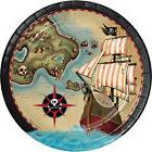 """8 Pirate's Map Treasures Birthday Party Tableware 9"""" Paper L"""