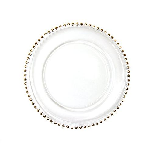 Koyal Wholesale 424658 Clear Glass Beaded Couture Charger Pl