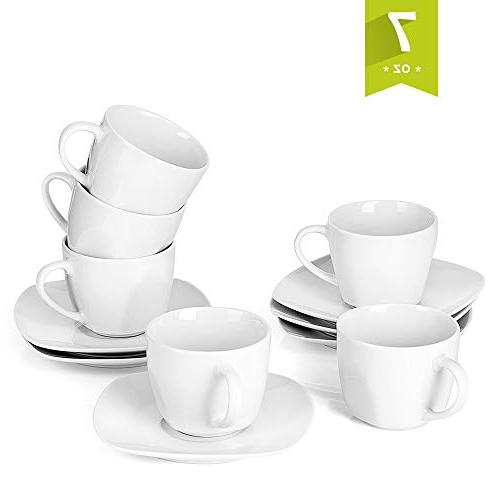 Malacasa 12-Piece Tea Cups and Saucers Sets 7 oz White Coffe