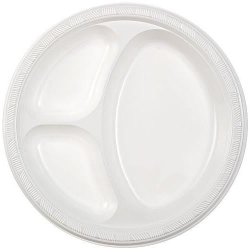 Party Dimensions 80818 8 Count 3-Compartment Plastic Plate,