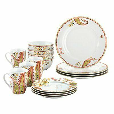 Rachael Ray Dinnerware Paisley 16-Piece Dinnerware Set