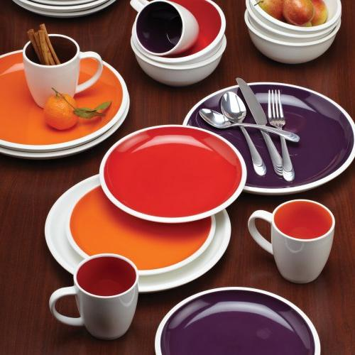 Rachael Ray Dinnerware Collection 4-Piece Stoneware Dinner Plate Set, Purple