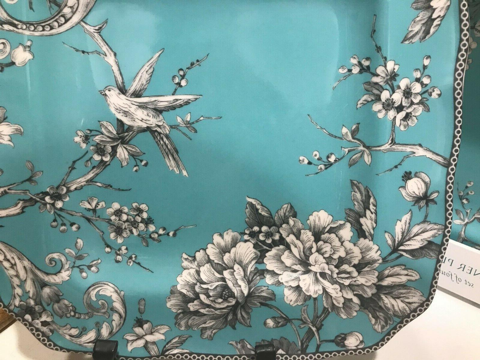 222 Fifth Turquoise Dinner Plates NEW Set of 4 Birds